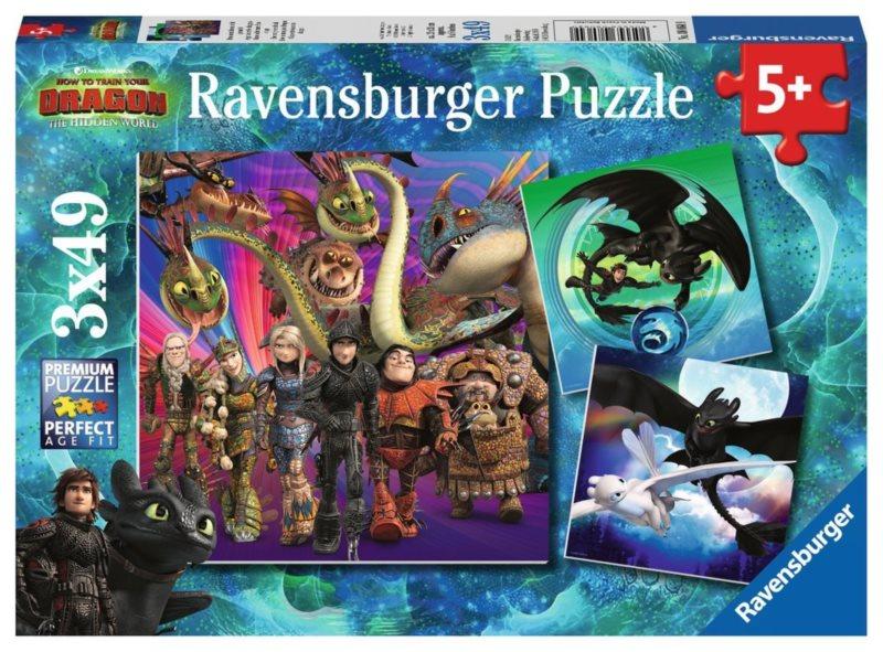 RAVENSBURGER Puzzle Jak vycvičit draka III 3x49 dílků