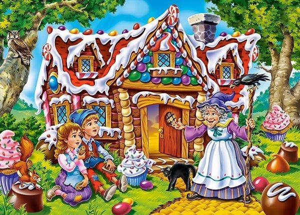 CASTORLAND Puzzle Jeníček s Mařenkou u perníkové chaloupky 60 dílků