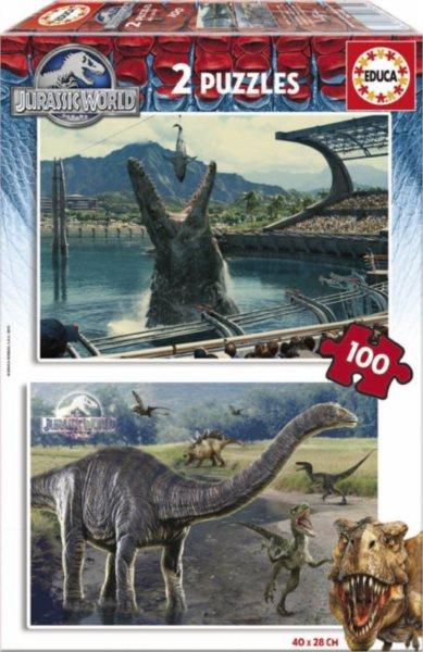EDUCA poškozený obal: Puzzle Jurský svět: Draví dinosauři 2x100 dílků