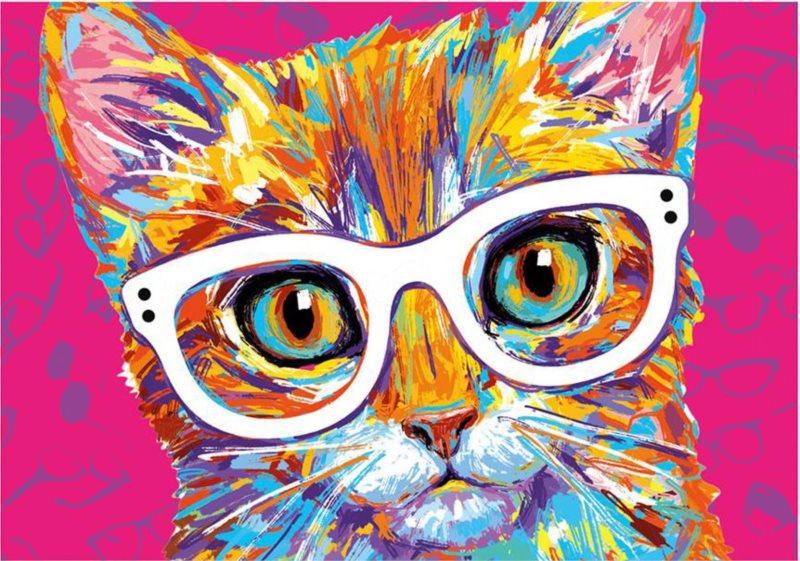 DINO Puzzle Kočka s brýlemi 500 dílků
