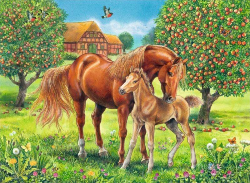 Dětské puzzle RAVENSBURGER 100 dílků - Koně na pastvině XXL