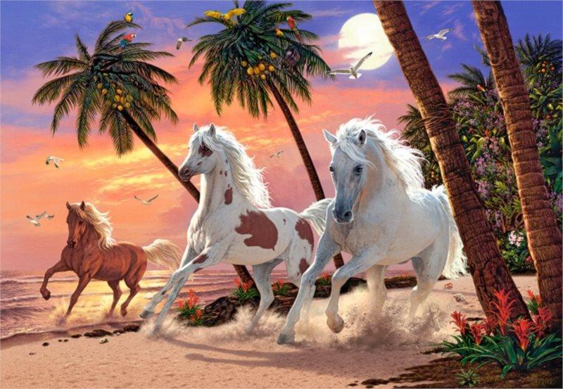 CASTORLAND Puzzle Koně pod palmami 1500 dílků