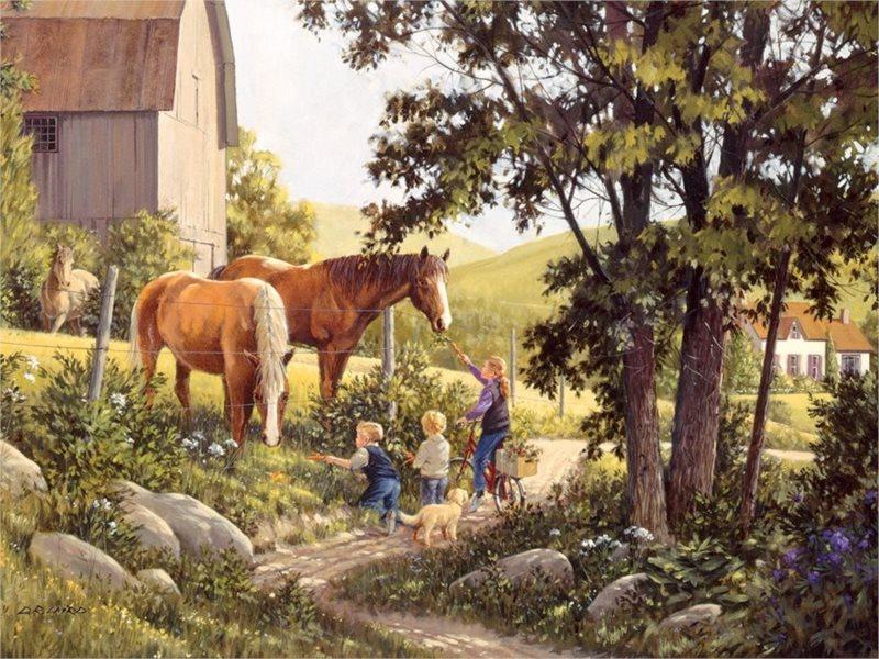 COBBLE HILL Puzzle Koně v létě 500 dílků