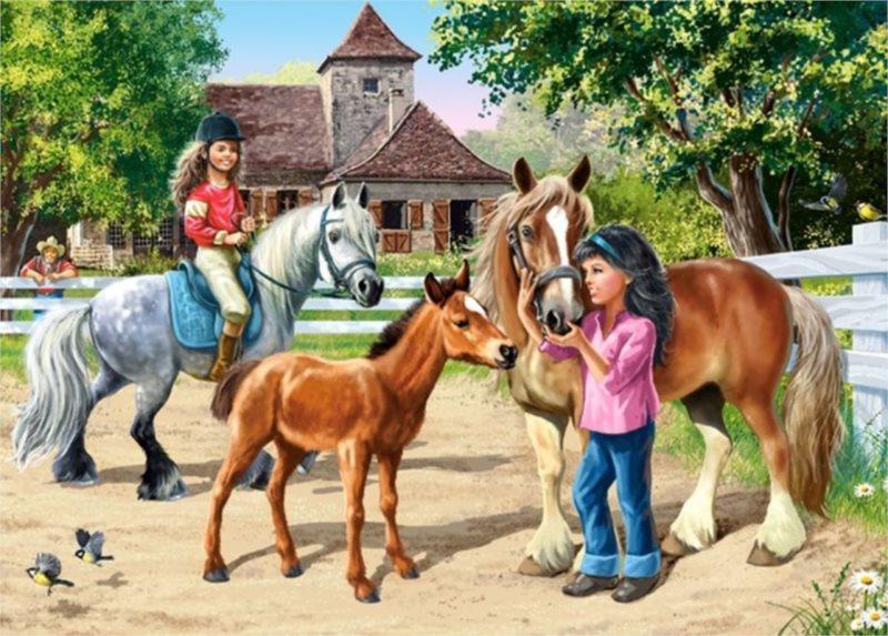 CASTORLAND puzzle Koňská farma 70 dílků
