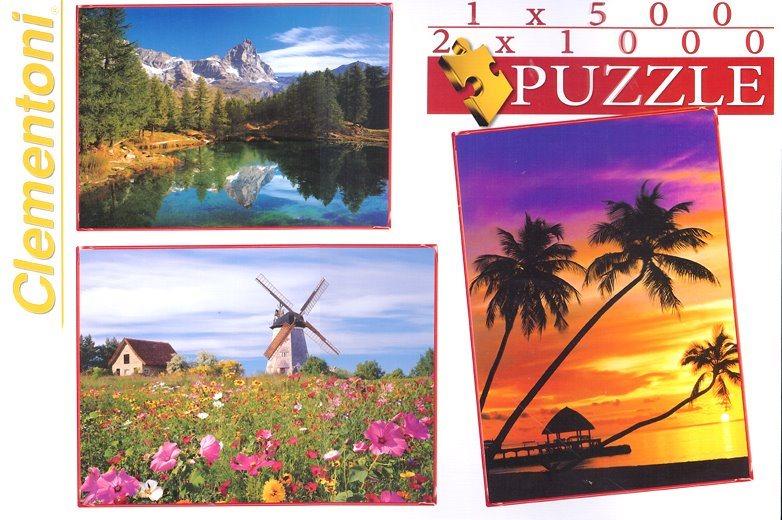 Puzzle CLEMENTONI 08102 Krajina 2x1000 + 1x500 dílků
