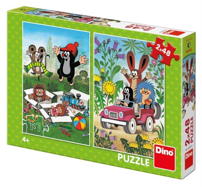 DINO Puzzle Krteček se raduje, Krtek a autíčko 2x48 dílků