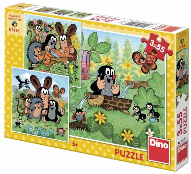 DINO Puzzle Krtek a zvířátka 3x55 dílků