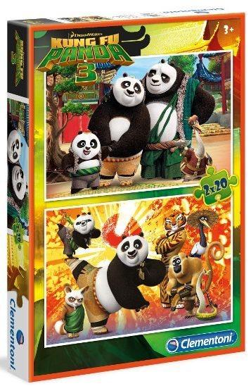 CLEMENTONI Puzzle Kung fu panda 3: Rodina a přátelé 2x20 dílků