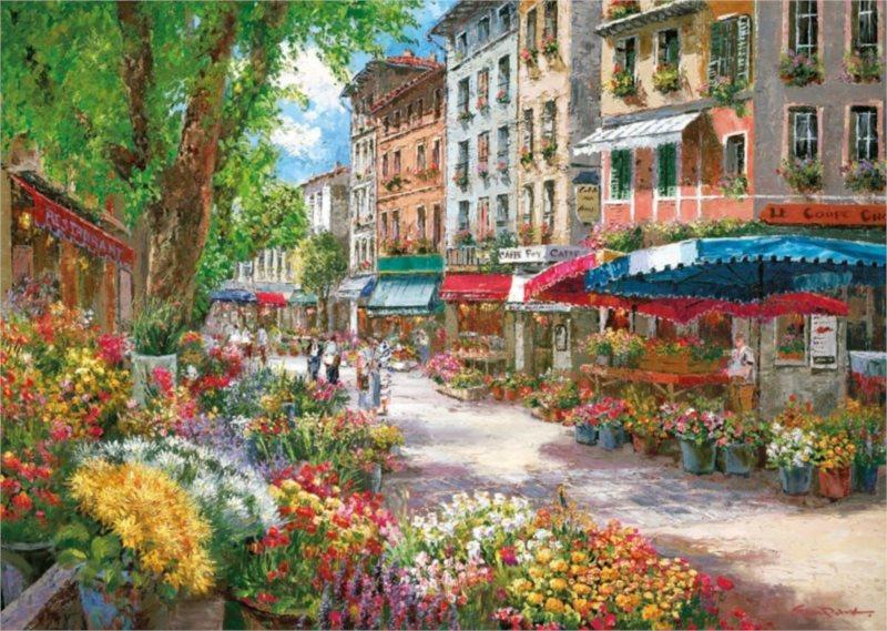 SCHMIDT Puzzle Květinový trh v Paříži 1000 dílků