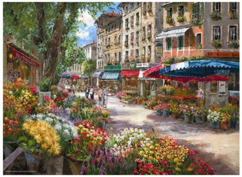 ANATOLIAN Puzzle Květinový trh v Paříži 1000 dílků