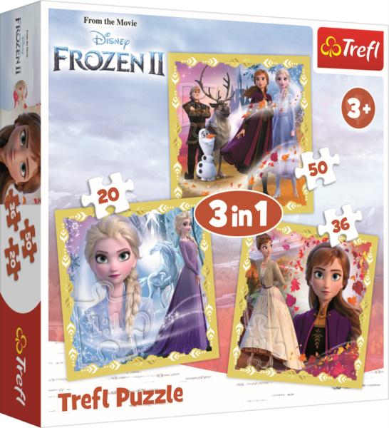 TREFL Puzzle Ledové království 2: Síla Anny a Elsy 3v1 (20,36,50 dílků)