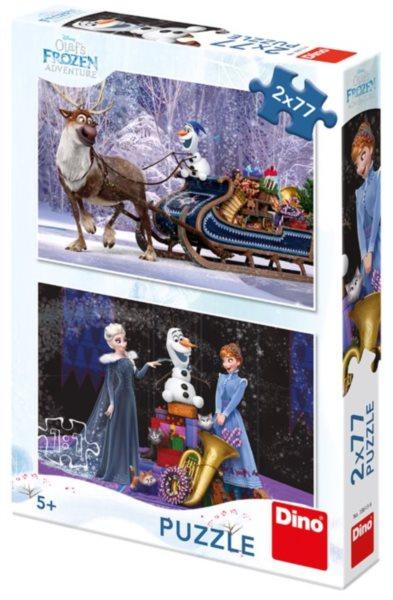 DINO Puzzle Ledové království: Vánoce s Olafem 2x77 dílků
