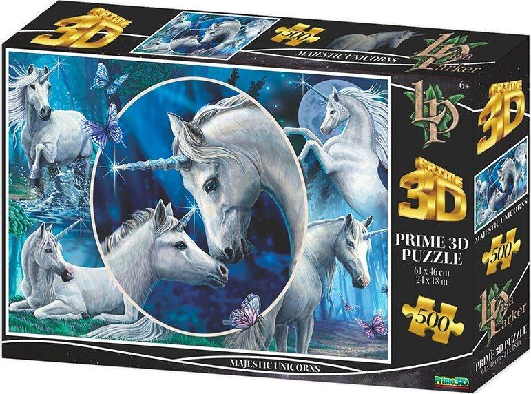 PRIME 3D Puzzle Majestátní jednorožci 3D 500 dílků