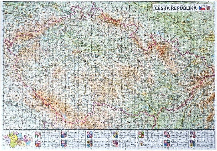 Puzzle Mapa České republiky 1500 dílků