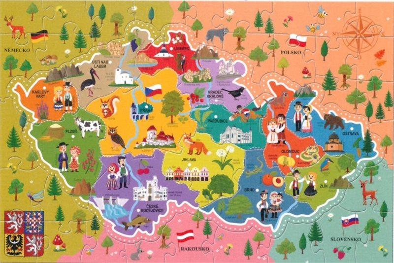 TREFL Puzzle Mapa České republiky 44 dílků