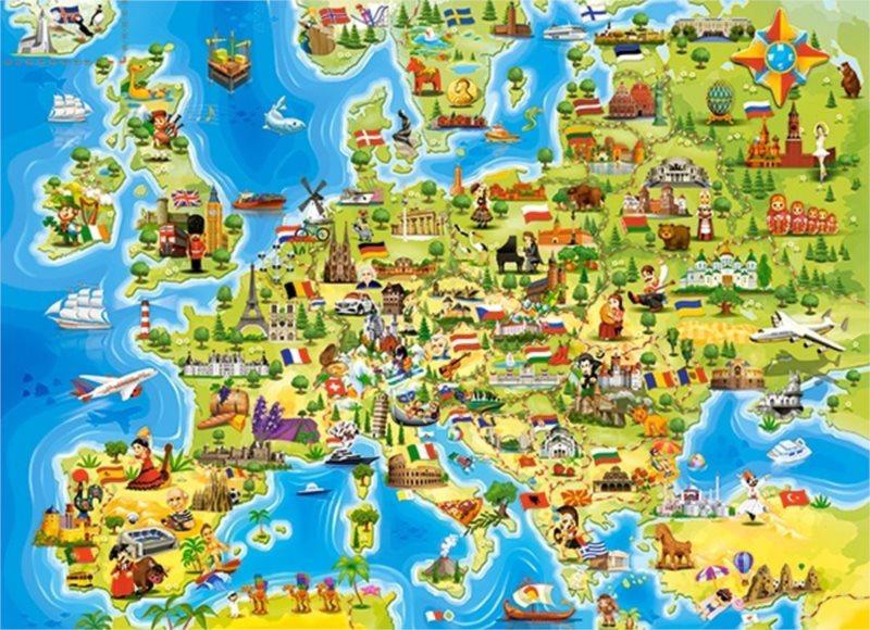 CASTORLAND Puzzle Mapa Evropy 100 dílků