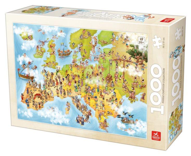 DEICO Puzzle Kreslená mapa Evropy 1000 dílků