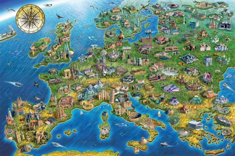 FALCON , JUMBO Puzzle Mapa Evropy 1500 dílků