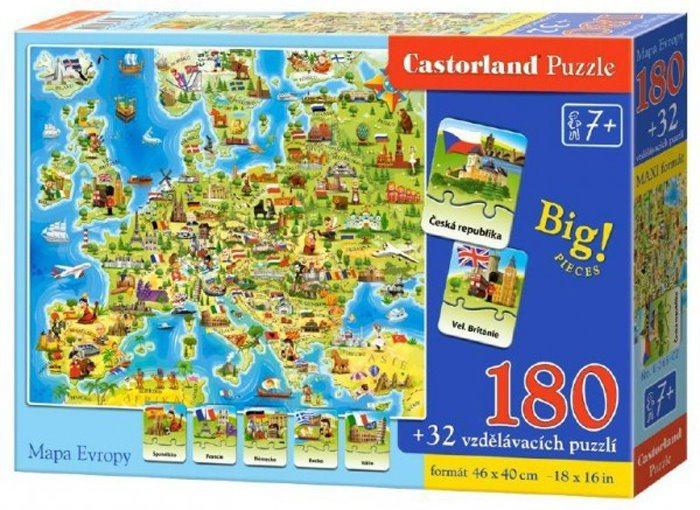 CASTORLAND Puzzle Mapa Evropy 180 dílků