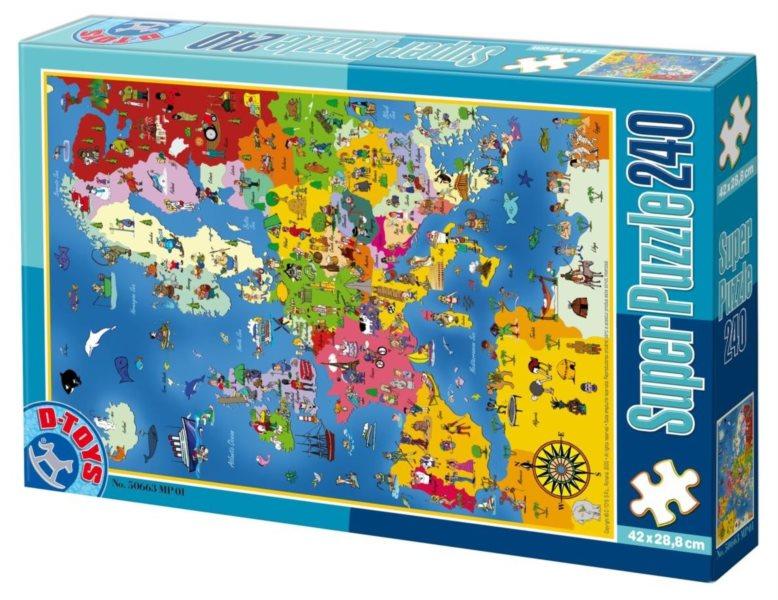 D-TOYS Puzzle Mapa Evropy 240 dílků