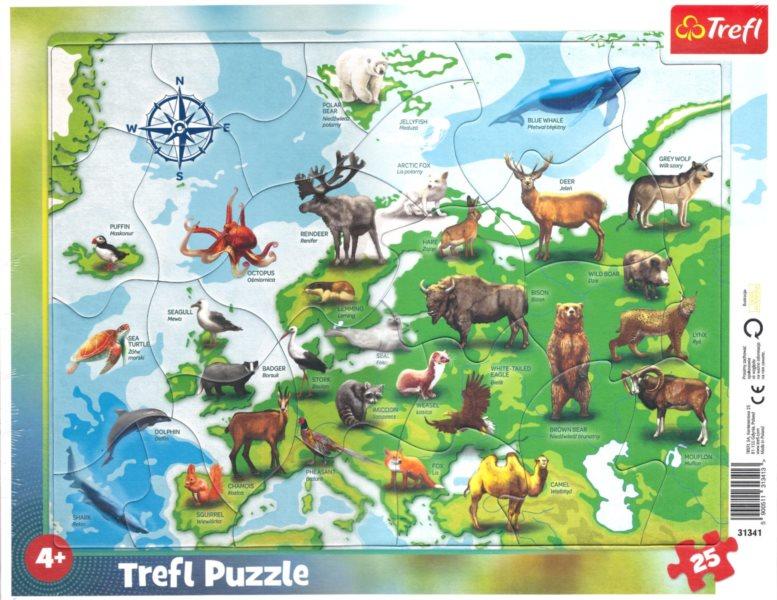 TREFL Puzzle Mapa Evropy se zvířátky 25 dílků