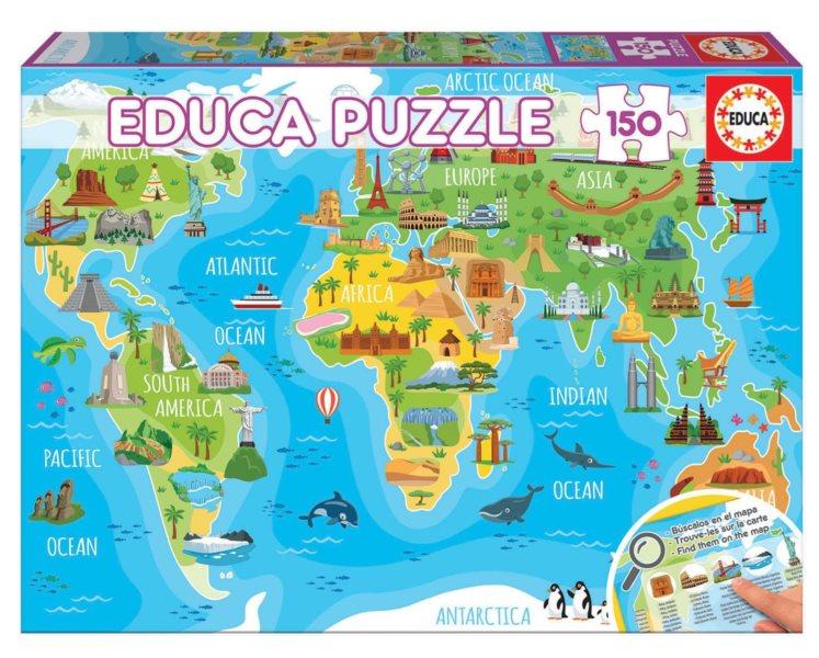 EDUCA Puzzle Mapa se světovými památkami 150 dílků