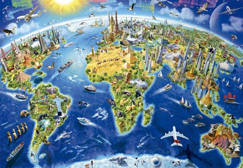EDUCA Puzzle Mapa se světovými památkami 2000 dílků