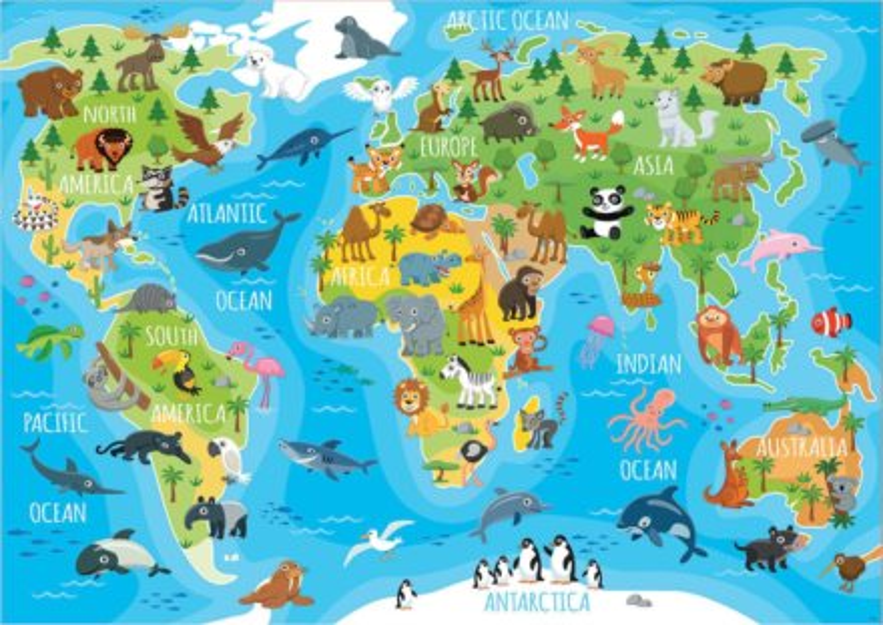 EDUCA Puzzle Mapa se zvířaty světa 150 dílků