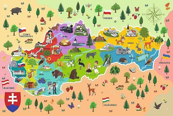 TREFL Puzzle Mapa Slovenska 44 dílků