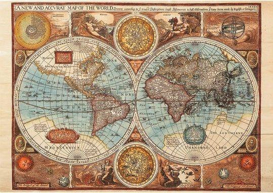 DINO Puzzle Mapa světa r. 1626, 500 dílků