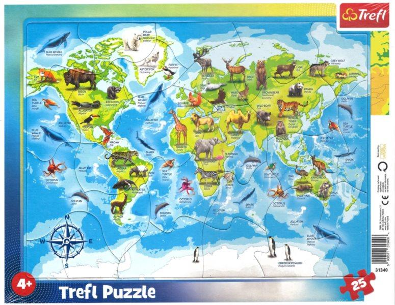 TREFL Puzzle Mapa světa se zvířátky 25 dílků