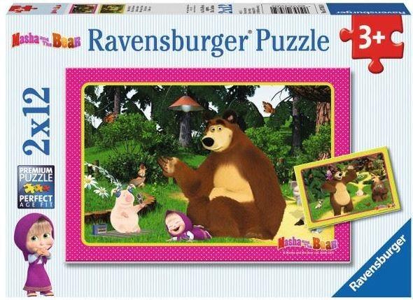 RAVENSBURGER Puzzle Máša a medvěd: Zábava v lese 2x12 dílků