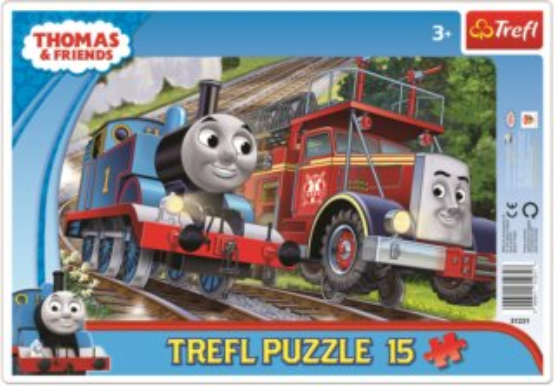 TREFL Puzzle Mašinka Tomáš a hasič Flynn 15 dílků