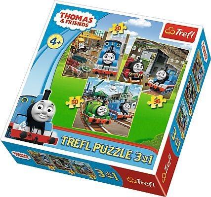Puzzle pro děti 3v1 TREFL - Mašinka Tomáš: Do akce! 20,36,50 dílků