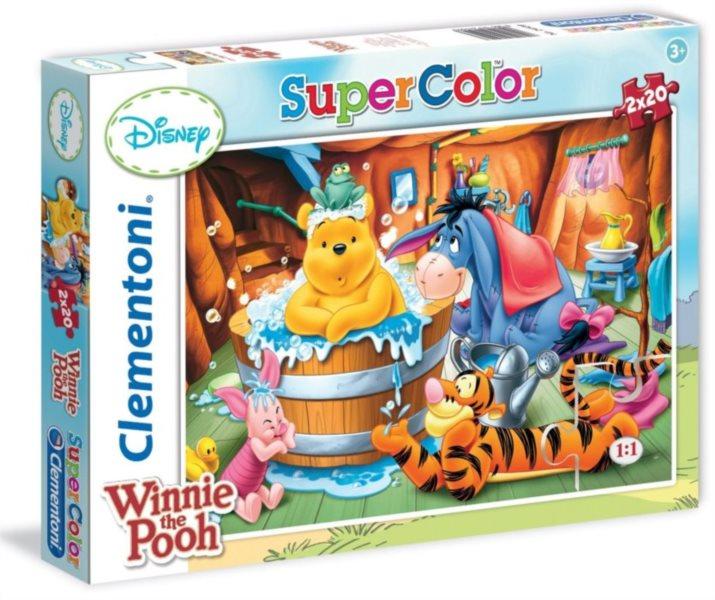 CLEMENTONI Puzzle Medvídek Pú: Koupel 2x20 dílků