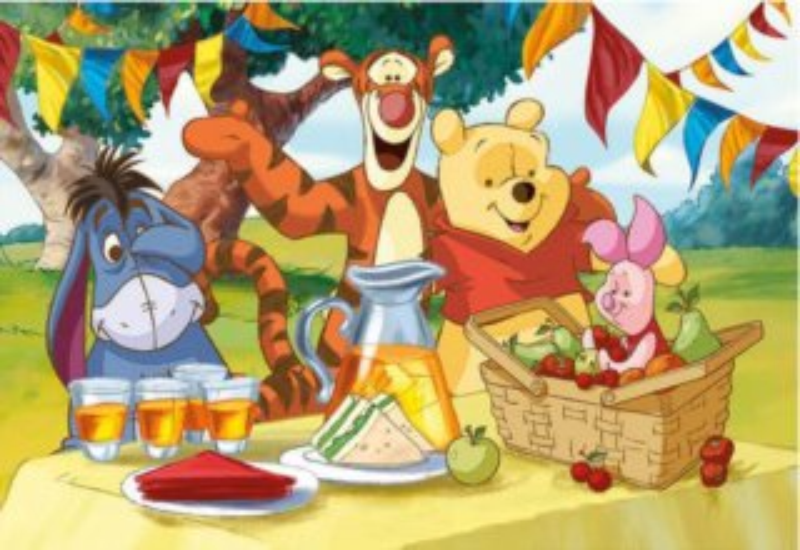 Dětské puzzle DINO 24 dílků - Medvídek Pú na hostině