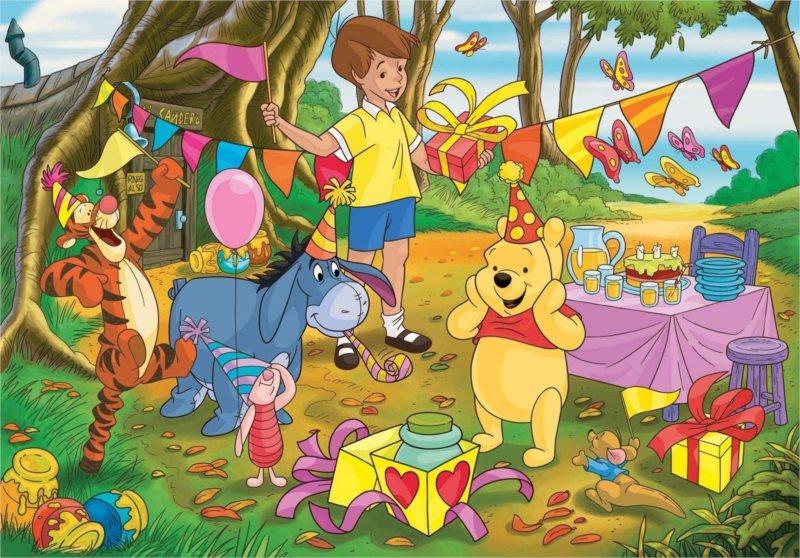 CLEMENTONI Puzzle Medvídek Pú: Narozeninová oslava MAXI 24 dílků