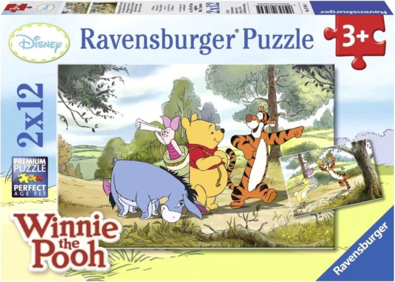 RAVENSBURGER Puzzle Medvídek Pú: Procházka s přáteli 2x12 dílků