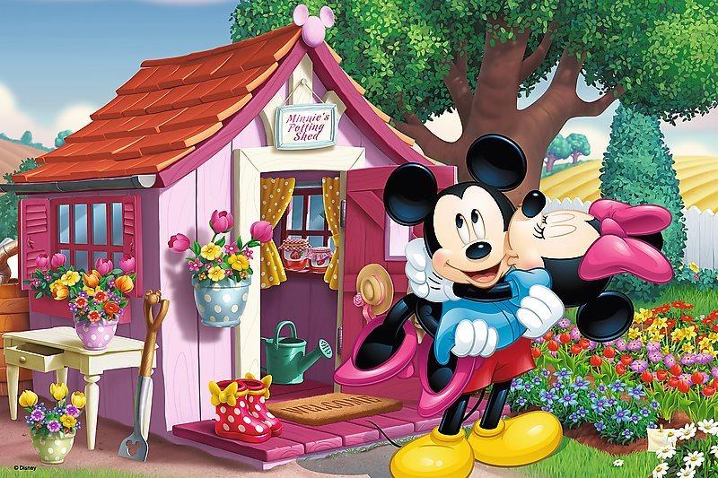 TREFL Puzzle Mickey a Minnie na zahradě 60 dílků