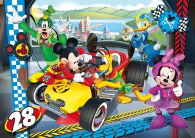 CLEMENTONI Puzzle Mickey Mouse: Závody MAXI 24 dílků