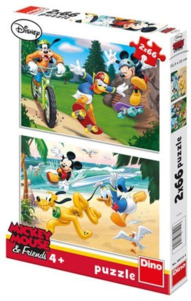 Dětské puzzle DINO 2x 66 dílků - Mickey sportuje 2v1