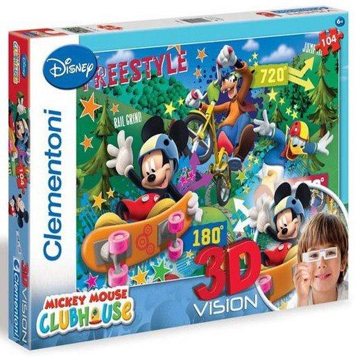 Dětské puzzle + 3D brýle - CLEMENTONI Mickeyho klubík: Freestyle, 104 dílků