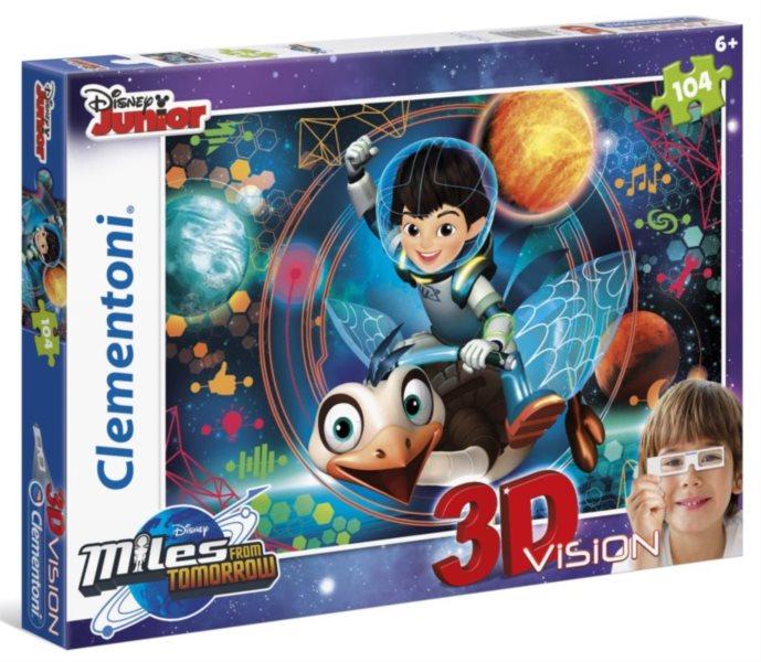 Dětské puzzle + 3D brýle - CLEMENTONI Miles z budoucnosti, 104 dílků