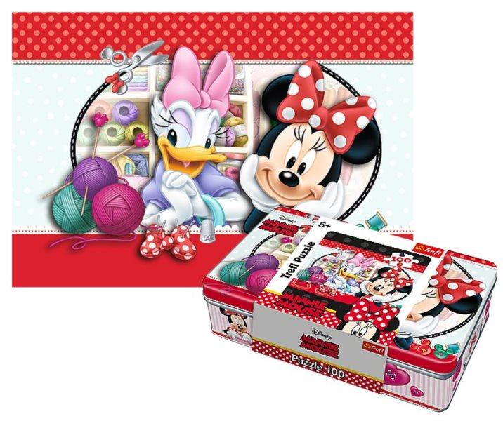 TREFL Puzzle Minnie a Daisy 100 dílků v plechové krabičce