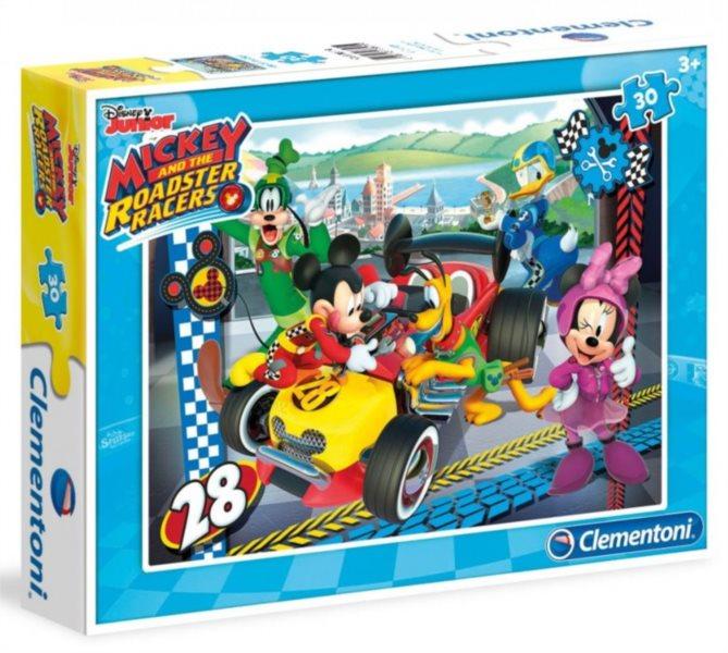 CLEMENTONI Puzzle Mickey Mouse na závodech 30 dílků