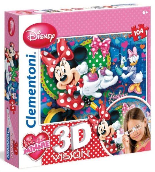 Dětské puzzle + 3D brýle - CLEMENTONI, Minnie a Daisy se krášlí 104 dílků