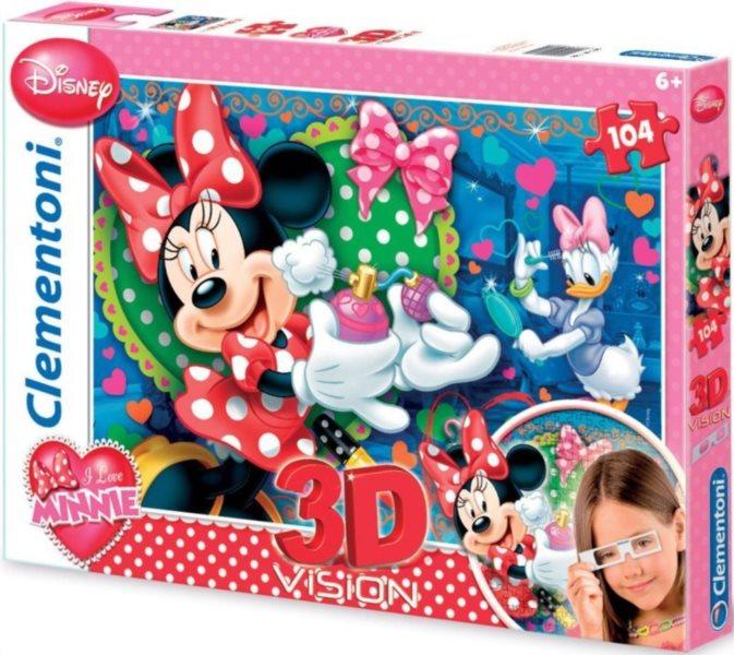 Dětské puzzle + 3D brýle - CLEMENTONI, Minnie Mouse 104 dílků