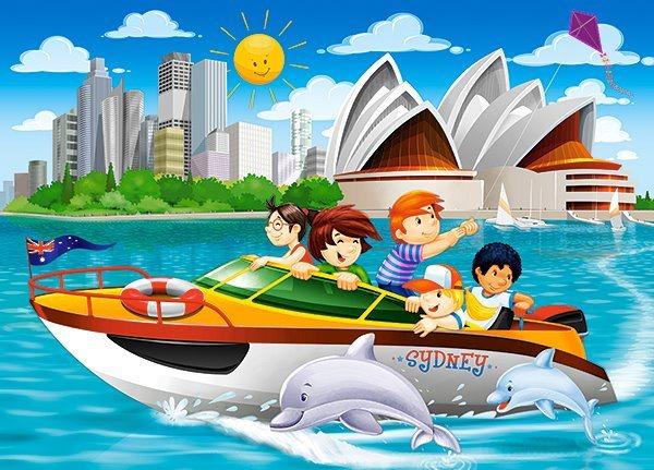 CASTORLAND Puzzle Na motorovém člunu v Sydney 54 dílků