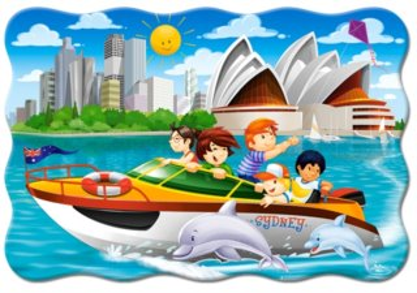 CASTORLAND Puzzle Na motorovém člunu v Sydney MAXI 20 dílků