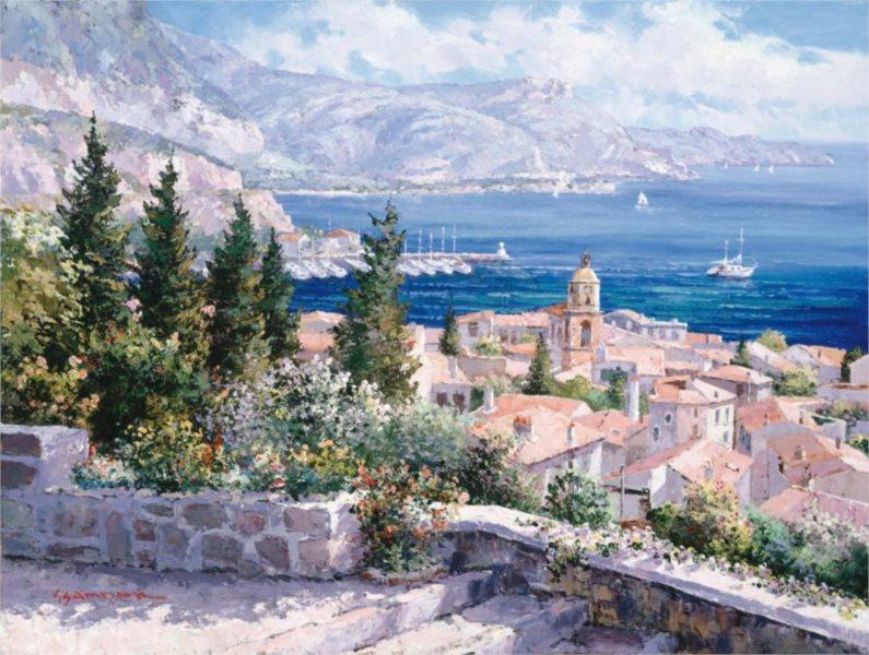 Puzzle SCHMIDT 1000 dílků S. Park: Nad střechami Saint Tropez